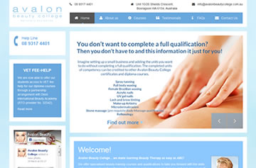 Avalon Beauty College website - Perth web design
