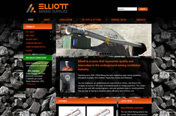 Elliott Mining Supplies website - Perth web design