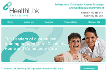 Health Link Training website - Perth web design