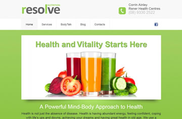 Resolve Nutrition website - Perth web design