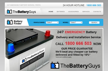 The Battery Guys website - Perth web design